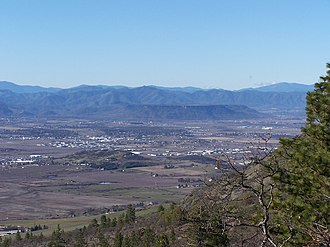 Upper and Lower Table Rock - Lower Table Rock across the Rogue Valley from Roxy Ann Peak