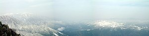 Mount Taibai - Birds-eye panorama, taken from the Bodhisattva Temple at 2300m.