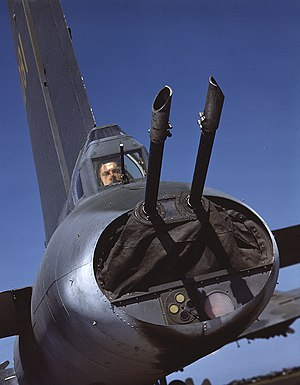 Tail gunner - Tail gunner in Boeing B-17 Flying Fortress, 1943