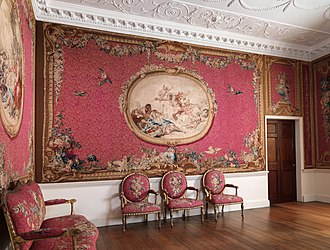 Tapestry Room from Croome Court, moved to the Metropolitan Museum of Art, hung with made to measure 18th-century Gobelins tapestries, also covering the chairs. 1763-71 Tapestry Room from Croome Court MET DP341243.jpg