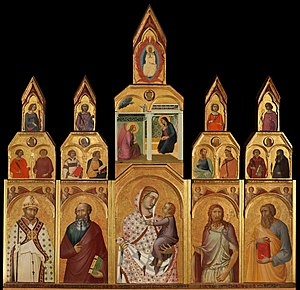 Tempera - Pietro Lorenzetti's Tarlati polyptych, Tempera and gold on panel, 1320
