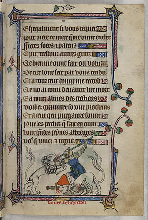 Bevis of Hampton - Bevis of Hampton fighting a lion, Taymouth Hours