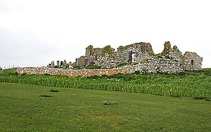 Clan Macdonald of Sleat - Ruinous Teampull na Trionaid, in North Uist, near the site of the battle fought by the 40 Macleods and 15 Uistmen, in the late 16th century.