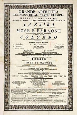 Teatro Regio (Parma) - Poster for the opening night of the Nuovo