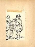 Teckning, Fritz von Dardel. En kvinna fäster en blomma på en herres rockslag - Nordiska Museet - NMA.0036002