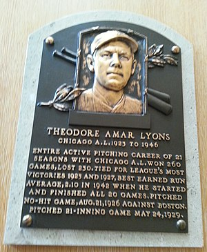 Ted Lyons - Lyons' plaque at the National Baseball Hall of Fame and Museum