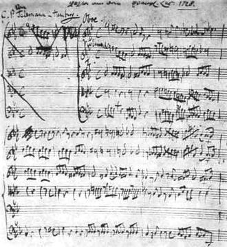 Passions (Telemann) - Telemann's manuscript for his 1728 St. Luke's Passion from the Deutsche Staatsbibliothek in Berlin.