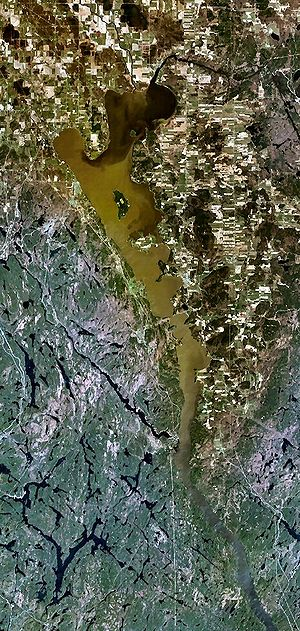 Clay Belt - This satellite photo of Lake Timiskaming shows a clear difference in landforms, with the muskeg of the Canadian Shield to the southwest and flatter drained and cleared area of the Lesser Clay Belt to the north and east. The white coloring is due to snow lying on the flat land, while it is hidden under the fir-covered Shield to the south.