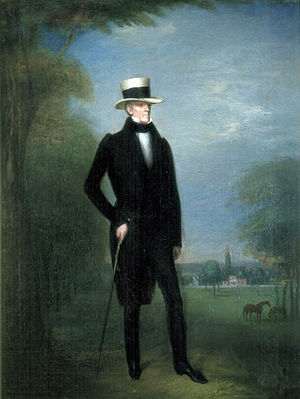 Painting of a man with a tall white hat, cane, black pants and coat, and a white shirt. He is standing on grass beside a tree.