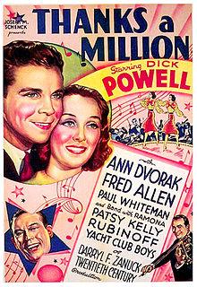 <i>Thanks a Million</i> 1935 film by Roy Del Ruth