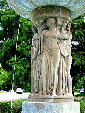 Music of Missouri - An allegorical figure of music on The Arts Fountain at the Missouri State Capitol.