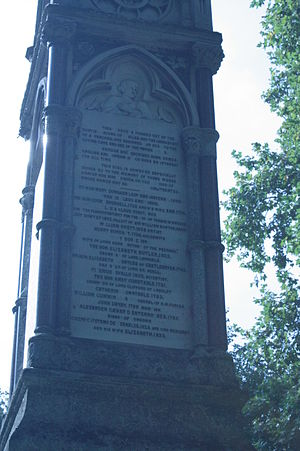 Tiberius Cavallo - The Burdett Coutts memorial, Old St Pancras - Cavallo's name is towards the bottom