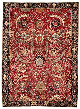 The Clark 'Sickle-Leaf', vine scroll and palmette carpet, probably Kirman, 17th century