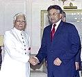 The External Affairs Minister, Shri K. Natwar Singh with the President of Pakistan, General Parvez Musharraf in New Delhi on April 16, 2005.jpg