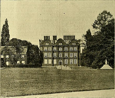 An 1897 photograph of the palace showing (left) the remnants of the service wing in which George was housed in 1804 and (right) the original site of the Tompion sundial The Gardeners' chronicle - a weekly illustrated journal of horticulture and allied subjects (1897) (14596280168).jpg