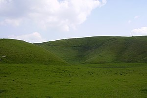Uffington White Horse - The Manger, with the White Horse at centre skyline and Dragon Hill (left)