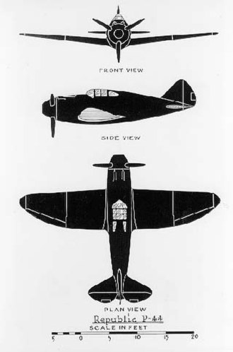 Republic P-43 Lancer - Sketches of the proposed P-44.