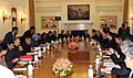 The Prime Minister, Dr. Manmohan Singh with the President of the Republic of Korea, Mr. Lee Myung-bak at the delegation level talks in New Delhi on January 25, 2010.jpg