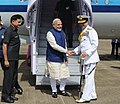 The Prime Minister, Shri Narendra Modi being received by the Chief of Naval Staff, Admiral R.K. Dhowan, at INS Hansa Naval Base, in Goa on June 14, 2014.jpg