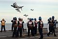 The Sea Harrier FA2s of 801 Squadron did a fly past of HMS Illustrious after their last ever launch from her decks. MOD 45146101.jpg