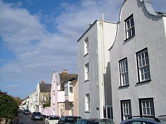 Topsham, Devon - The Strand showing some of the houses with Dutch gables