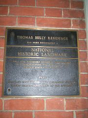 Plaque on the former home of Thomas Sully in Society Hill, Philadelphia, Pennsylvania