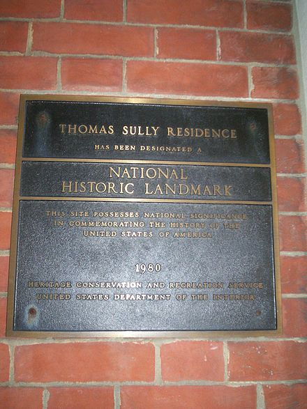 Plaque on the former home of Thomas Sully in Society Hill ThomasSullyHousePlaque.jpg