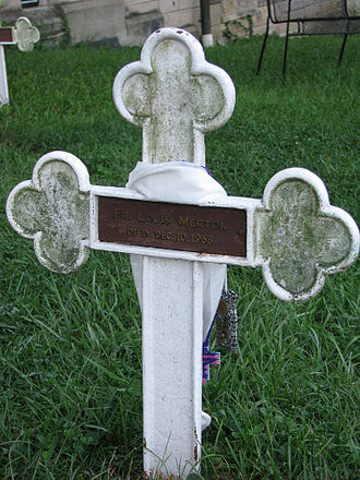 "Thomas Merton - The grave of Thomas Merton, His grave marker reads ""Fr. Louis Merton, Died Dec. 10, 1968."""