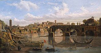 Pons Aemilius - Ponte Rotto (1690) by Van Wittel, showing the damage wrought by severe floods.
