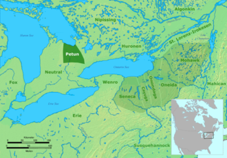 Neutral Nation - The homeland of the Neutral people (left) was along the eastern side of the eastern shores of Lake Huron, the west side of the northern shores of Lake Ontario, and west of the Huron peoples and the rival Algonkian-speaking tribes living along the St. Lawrence River in lower Canada.
