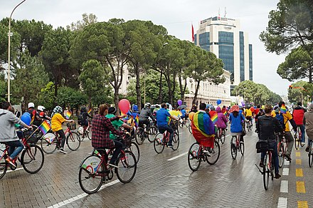 Gay Pride ride 2016 in Tirana, Albania. Tirana Gay(P)Ride 2016.jpg