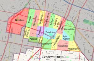 Tlatelolco (altepetl) - Barrios of pre-Colonial Tlatelolco over modern map