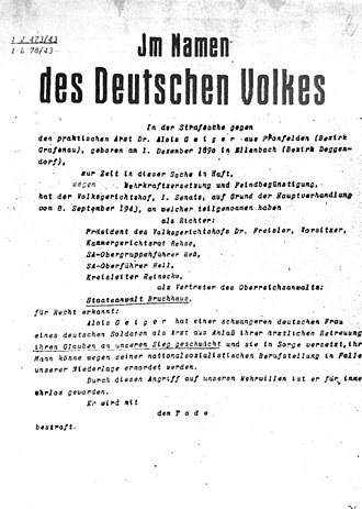Wehrkraftzersetzung - Wehrkraftzersetzung death sentence issued by the People's Court on 8 September 1943 against the doctor Alois Geiger for defeatism.