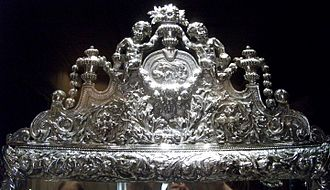 Toilet service - Top of the Weston Park mirror, 1679