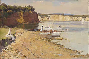 Mentone Beach - Image: Tom Roberts Slumbering sea, Mentone Google Art Project