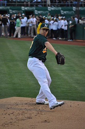 Tommy Milone - warming up for the Oakland Athletics in 2012