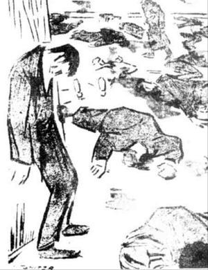 Socialist Party of Romania - 1918-12-13 Seven o'clock in the evening... It's quiet throughout the land. (Cartoon by Nicolae Tonitza, published in Socialismul, December 1919)