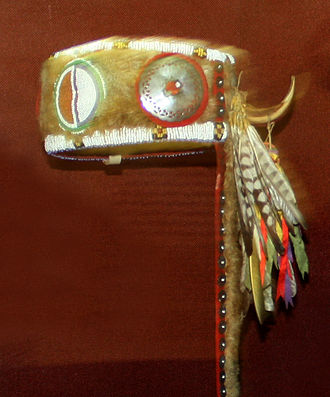 Tonkawa - Tonkawa otter pelt turban, circa 1880, Oklahoma, Oklahoma History Center