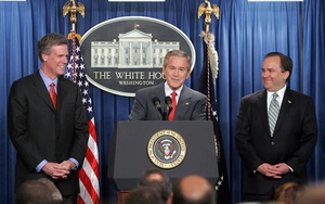 Tony Snow pictured with President George W. Bush and outgoing Press Secretary Scott McClellan