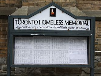 Homelessness - Homeless memorial in Toronto
