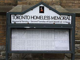 Homelessness - Homeless memorial in Toronto