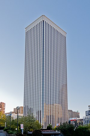 Districts of Madrid - Torre Picasso, designed by Minoru Yamasaki, the architect of the World Trade Center in New York