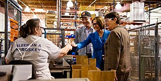 Family business - Congresswoman Pelosi greets employees of McRoskey Mattress Company, a family-owned, San Francisco mattress manufacturer founded in 1899.