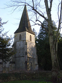 Tower and spire, Holy Rood church, Sparsholt - geograph.org.uk - 313979.jpg