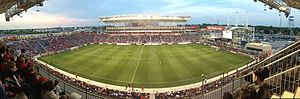 Toyota Park - Panoramic view of Toyota Park on June 8, 2013 during the MLS regular season match between Chicago Fire and Portland Timbers. Downtown Chicago is visible on the horizon on the left.