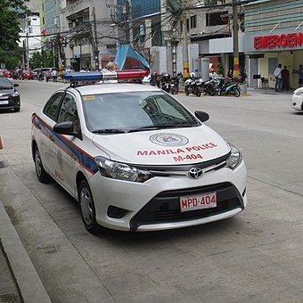 A Toyota Vios of the Manila Police District Toyota Vios Philippine Police Car Manila City.jpg