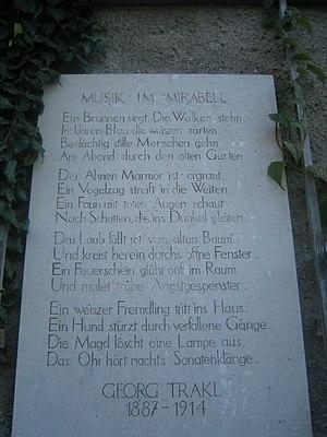 Georg Trakl - A poem by Trakl inscribed on a plaque in Mirabell Garden, Salzburg.
