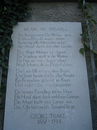Georg Trakl - A poem by Trakl inscribed on a plaque in Mirabell Garden, Salzburg.