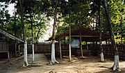 Classrooms made of bamboo in a school