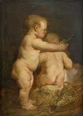 Two Naked Children with Grapes